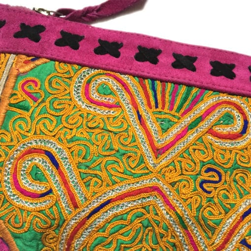 handcrafted clutch with leather