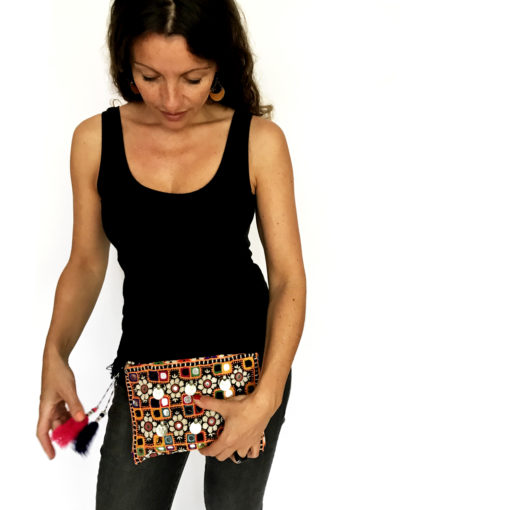 clutch with mirrors_Banjara Clutch _handcrafted