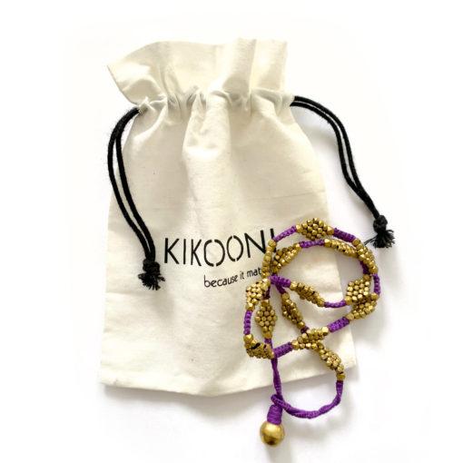 "Dokra Necklace ""purple Flower"""