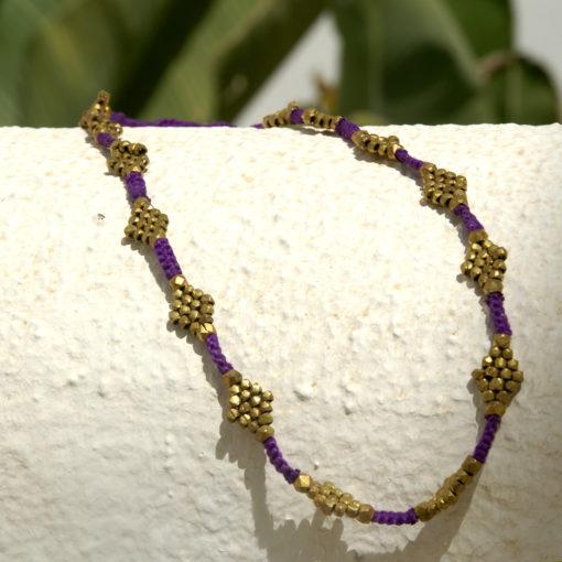"""Dokra Halskette """"purple flower"""""""