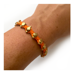 orange brass bracelet, vintage armband