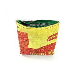 Cosmeticbag yellow and red, Kosmetiktasche upcycelt, Ksoemtiktasche gelb