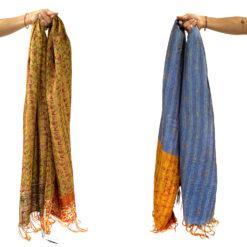 kantha _scarf_Meena- sari silk schal Neela , handgefertigt und einzigartig