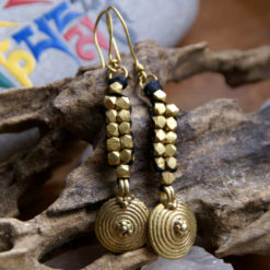long handcrafted dokra earrings