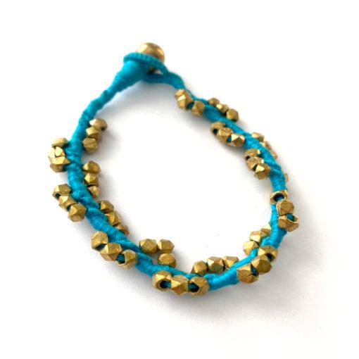 "handgefertigtes dokra armband ""twisted turquoise"""