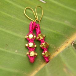 "handgefertigte dokra ohrringe ""pink stones"""""